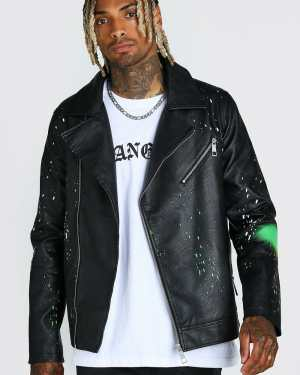 Mens Multi Leather Look Spray Paint Effect Biker Jacket, Multi