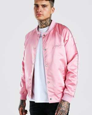 Mens Pink Satin Bomber Jacket With Chest Man Embroidery, Pink
