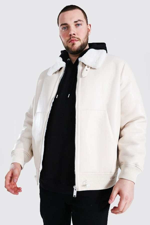 Mens White Plus Size Leather Look Aviator Bomber Jacket, White
