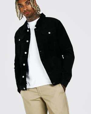 Mens Black Regular Fit Cord Jacket, Black