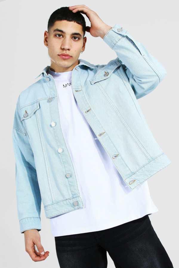 Mens Blue Boxy Fit Distressed Denim Jacket, Blue