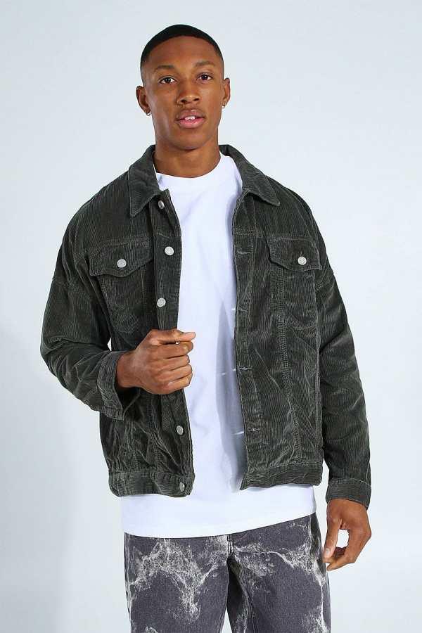 Mens Grey Oversized Cord Jacket, Grey