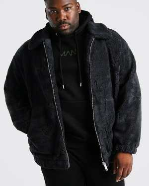 Mens Grey Plus Size MAN Dash Borg Bomber Jacket, Grey