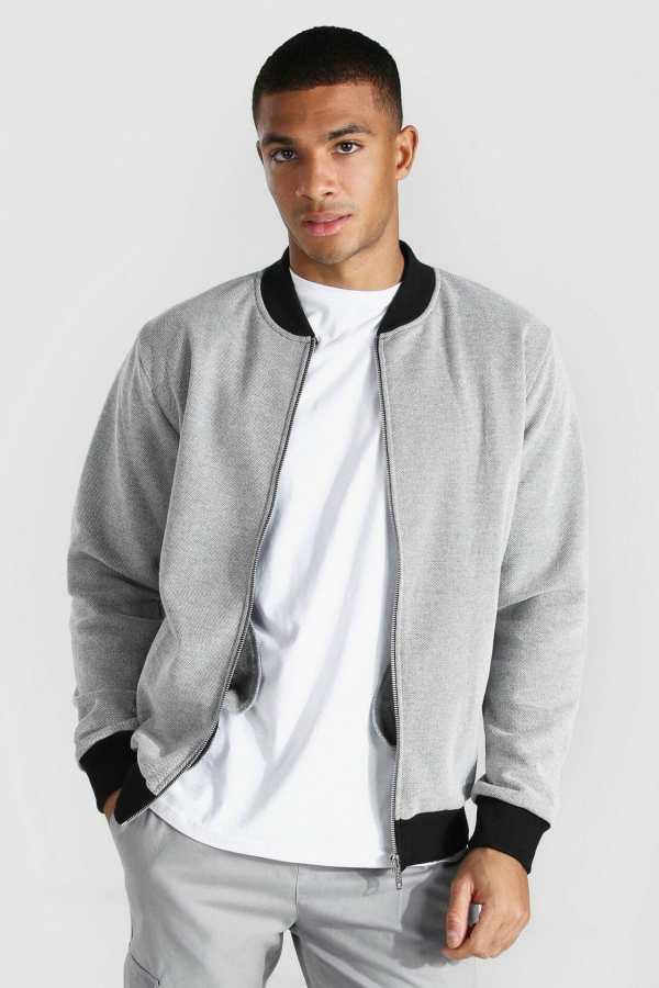 Mens Grey Textured Jersey Bomber Jacket, Grey