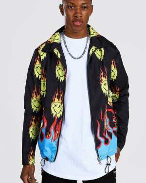 Mens Black All Over Flames Drip Face Coach Jacket, Black