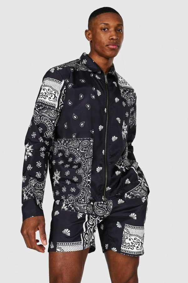 Mens Black Bandana Coach Jacket, Black