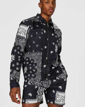 Mens Black Bandana Coach Jacket, Black