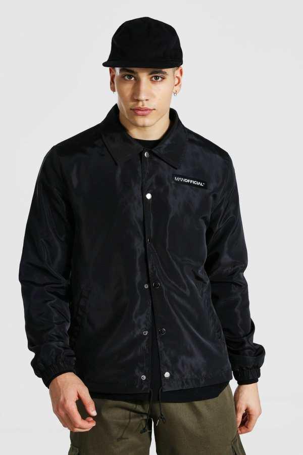 Mens Black MAN Official Branded Nylon Coach Jacket, Black