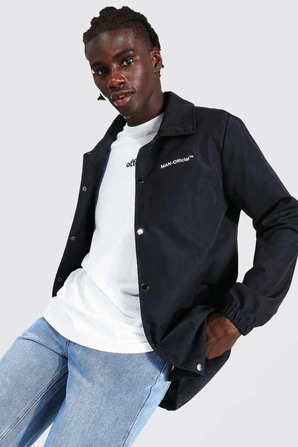 Mens Black MAN Official Branded Woven Longline Coach Jacket, Black