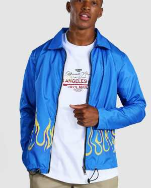 Mens Blue Flames Coach Jacket, Blue