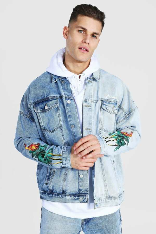 Mens Blue Tall Oversized Spliced Palm Tree Denim Jacket, Blue
