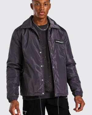 Mens Grey MAN Official Nylon Faux Fur Lined Coach Jacket, Grey