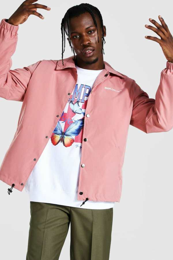 Mens Pink MAN Official Branded Woven Coach Jacket, Pink