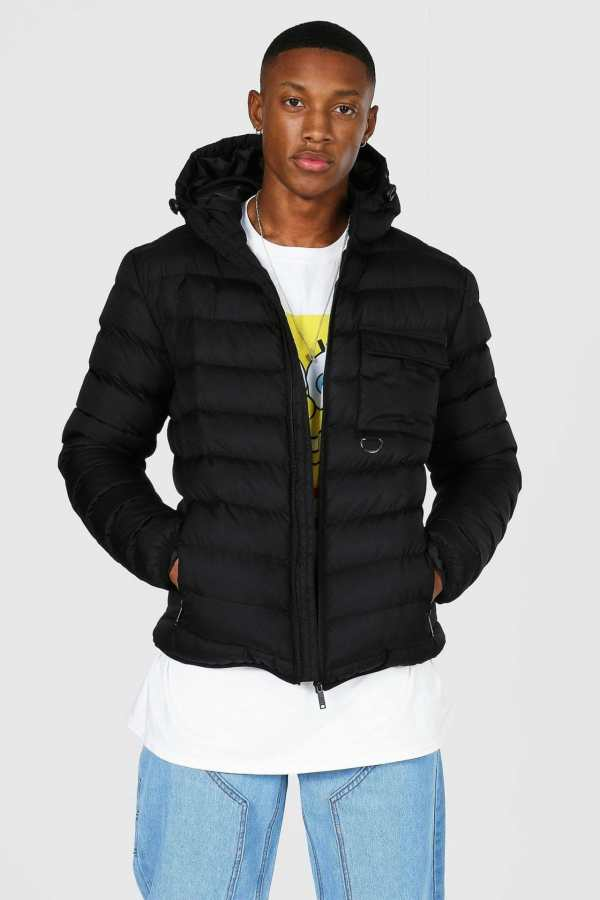 Mens Black Utility Quilted Jacket, Black