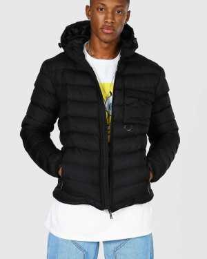 Mens Black Utility Quilted Jacket, Black