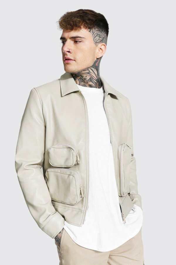 Mens Cream Utility Pu Collared Jacket, Cream