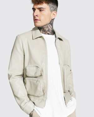 Mens Cream Utility Pu Collared Jacket, Cream