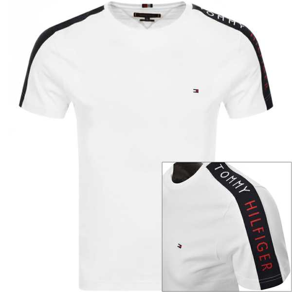 Tommy Hilfiger Logo Sleeve Tape T Shirt White