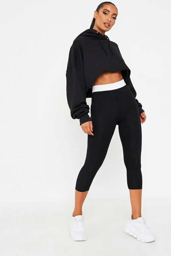 Black Elasticated Waistband Cropped Legging - 14 / BLACK