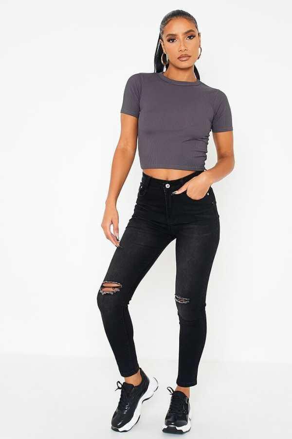 Black High Waisted Slash Knee Skinny Jeans - 4 / BLACK