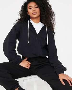Black Hooded Half Zip Sweat-Shirt - 12 / BLACK