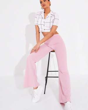 Blush Pink Wide Leg High Waisted Trousers - 6 / PINK