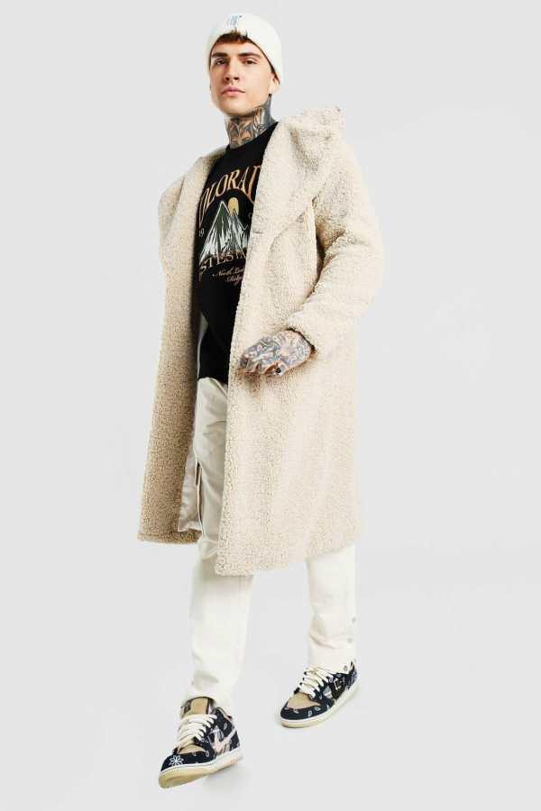 Mens Beige Borg Single Breasted Hooded Longline Jacket, Beige