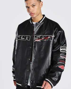 Mens Black Tall Season Leather Look Varsity Jacket, Black