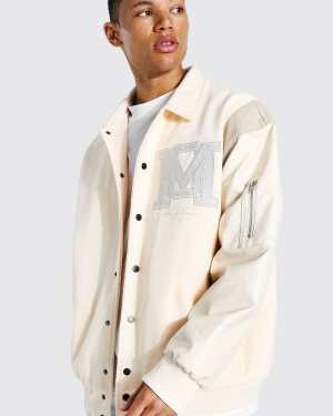 Mens Cream Tall Om Harrington Varsity Jacket, Cream