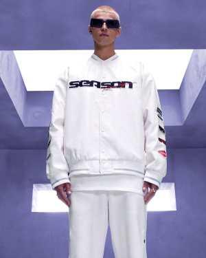 Mens White Oversized Season Leather Look Varsity Jacket, White