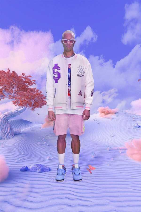 Mens Cream Oversized Department Homme Varsity Jacket, Cream