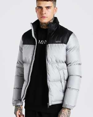 Mens Grey Man Dash Colour Block Puffer Jacket, Grey