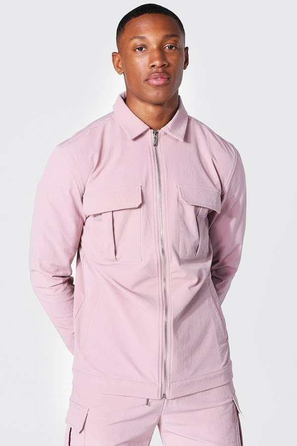 Mens Pink Tailored Harrington Cargo Jacket, Pink