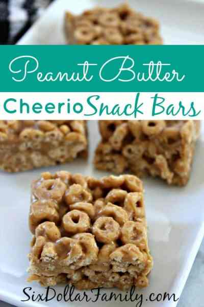 Quick breakfast, after school snack or dessert at lunch, these peanut butter cheerio snack bars are a BIG hit every single time! No granulated sugar, no corn syrup and whole grain in the Cheerios!