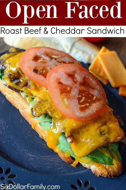 Serve up a delicious sandwich with very little work! This open faced roast beef and cheddar sandwich recipe is the best you'll ever taste! It's amazing!