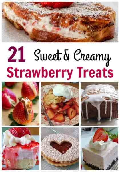 Strawberry Dessert Recipes - Sweet and creamy, these 21 Strawberry Desserts are amazing! You're sure to find the perfect strawberry recipe for a delicious summer treat or anytime you need a taste of strawberries!