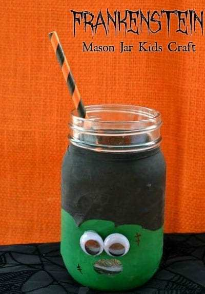 Frankenstein Mason Jar Kids Craft - If your kids like mason jar crafts, you'll love this Frankenstein mason jar kids craft! It's super easy to make and adorably spooky! Add a straw and your kids have a new favorite mug!