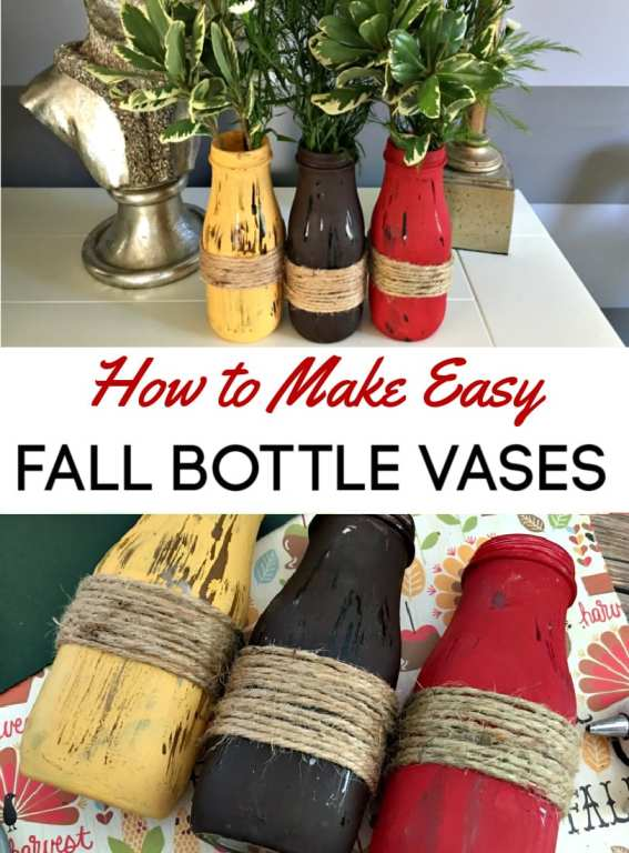 Have you ever made a vase from a glass bottle? They are a super easy upcycled craft that can be customized for any holiday or season!  Here we show you how to make a bottle vase and how to decorate them for fall!