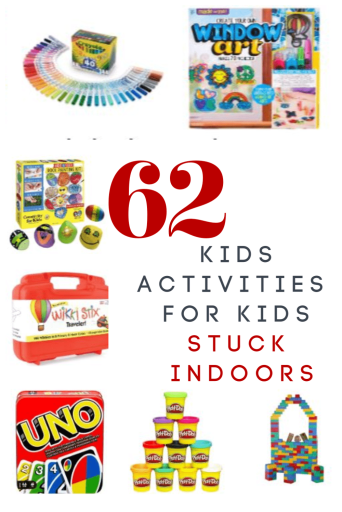 Are you kids stuck inside and bored? These 62 kids activities are perfect for days of indoor fun no matter what reason they are stuck inside!