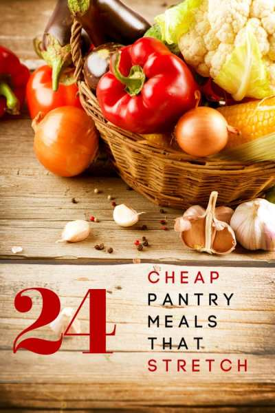 Can't get to the store right now? These 24 meals that stretch are all easily made into cheap pantry meals! Feed a crowd with what you already have on hand!
