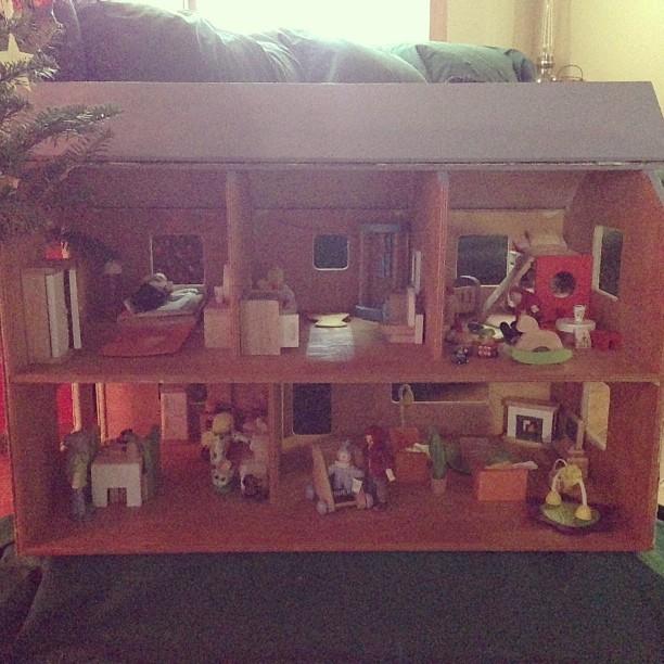 Santa brought Ellie a dollhouse!!!