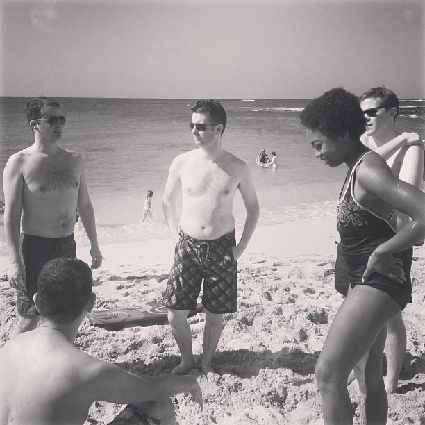 Themers on a beach