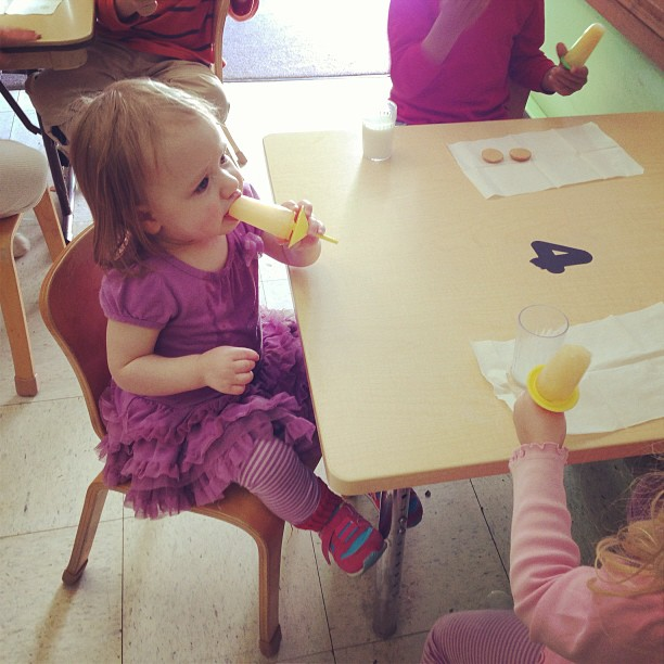 Gwen visited sister's school at snack time!