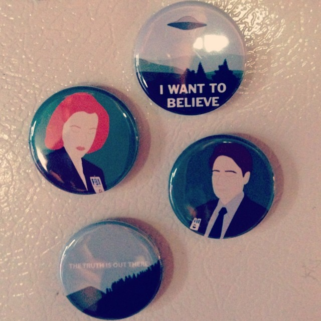 X-Files fridge magnets by @Sleepy_Mountain on Etsy, who I didn't realize was also from Maine until after I ordered. Very cool. :)