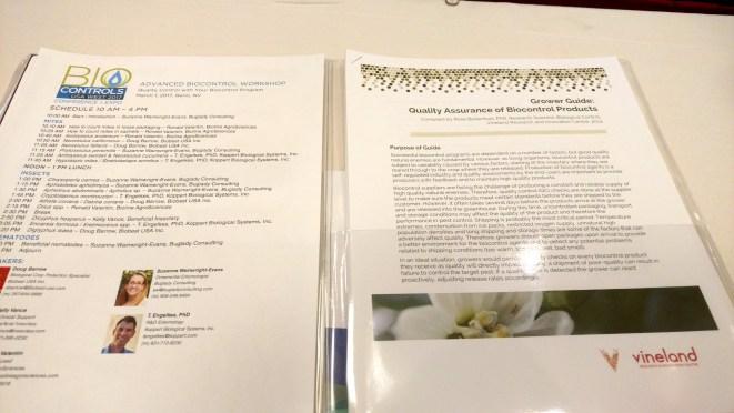 Biocontrols Conference (2017) – Advanced Biocontrol Workshop Notes