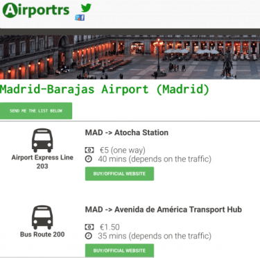Part of the Information for the Madrid Airport