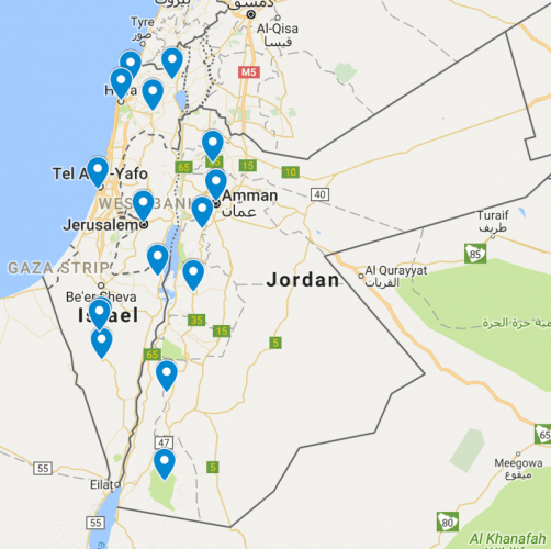 A Map of Israel and Jordan