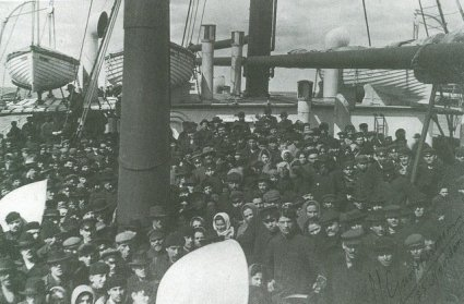 Emigrants Packed on the Forward Deck of the s/s Noordam in 1878 (Courtesy of Captain Albert Schoonerbeek and the Holland America Line)
