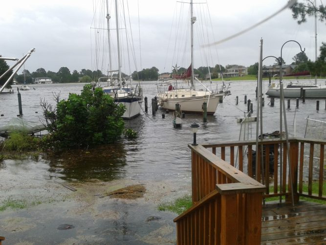 The start of the flooding from hurricane Florence (© Bob Leahy ~ Published with permission)