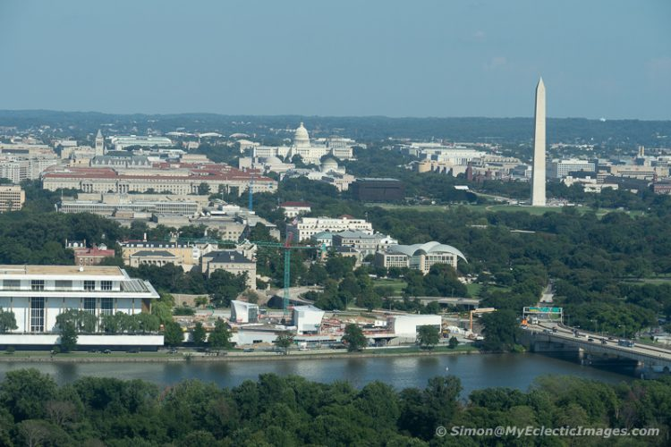 A View of the Washington Monument, the Capitol and the Kennedy Center for the Performing Arts from the Observation Deck at Central Place, Arlington (©simon@myeclecticimages.com)